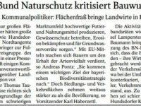 BUND Naturschutz kritisiert Bauwut, Landwirte in Existenznot